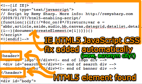 HTML 5 elements found in markup