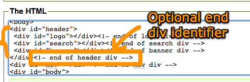 Optional setting to output closing div comments